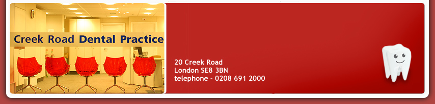 Creek Road Dental Practice, 20 Creek Road  London, London SE8 3BN, telephone - 020 8691 2000